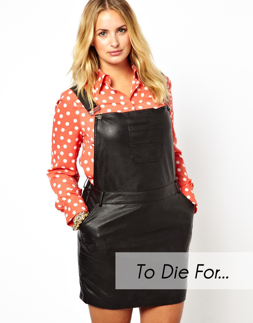To Die For Alice You Plus Size Leather Look Overall Dress The
